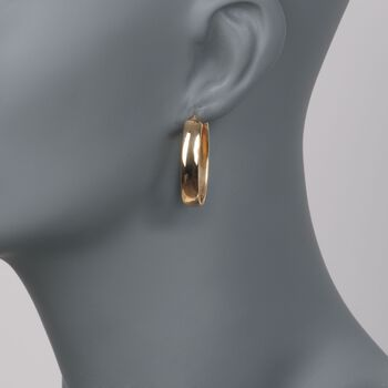 "Roberto Coin ""Wedding Band"" 18kt Yellow Gold Oval Hoop Earrings. 1 1/4"", , default"