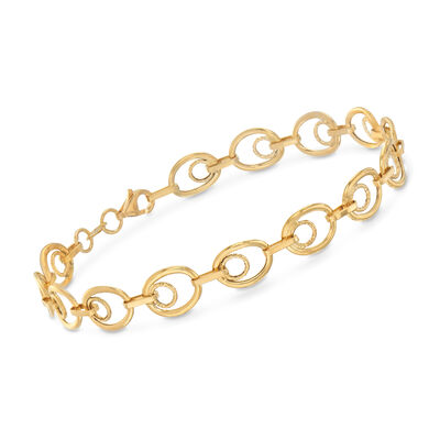 Italian 18kt Yellow Gold Inner Circle Oval-Link Bracelet, , default