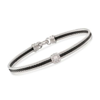 "ALOR ""Noir"" Two-Tone Stainless Steel Cable Bracelet With Diamonds and 18kt White Gold. 7"", , default"