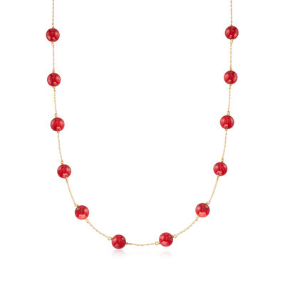 Red Coral Bead Station Necklace in 14kt Yellow Gold