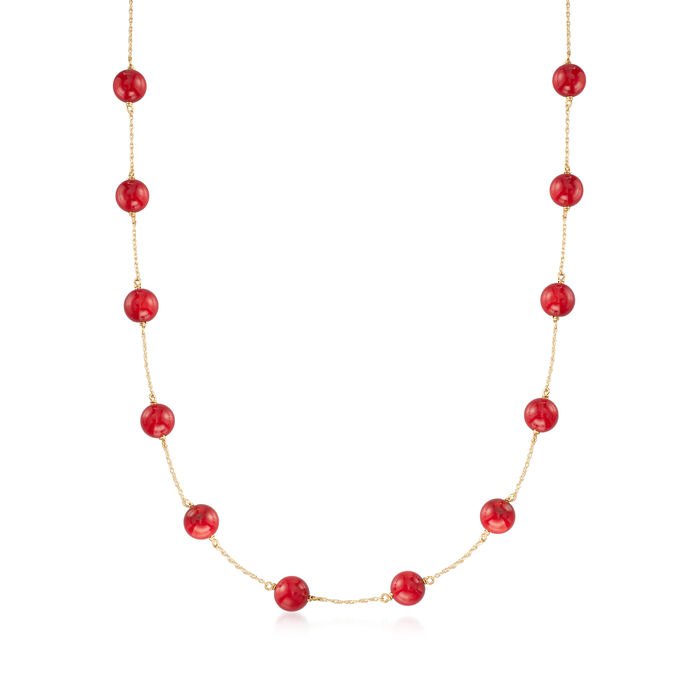 Red Coral Bead Station Necklace in 14kt Yellow Gold, , default