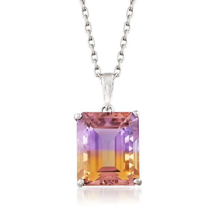 5.50 Carat Emerald-Cut Ametrine Solitaire Necklace in Sterling Silver