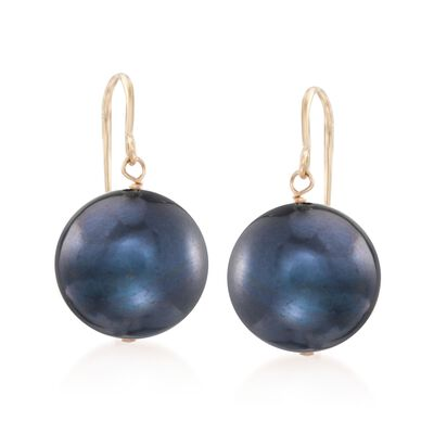 11mm Peacock Cultured Pearl Drop Earrings in 14kt Yellow Gold, , default
