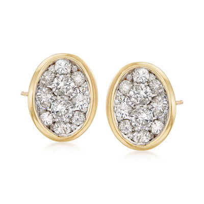 1.00 ct. t.w. Diamond Cluster Stud Earrings in 14kt Yellow Gold, , default