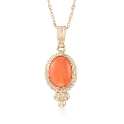 Coral Rope Bezel Pendant Necklace in 14kt Yellow Gold, , default