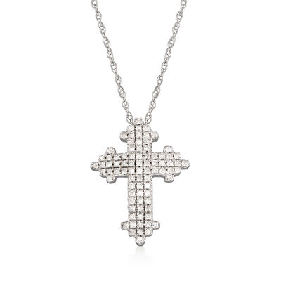 .25 ct. t.w. Diamond Cross Pendant Necklace in 14kt White Gold, , default