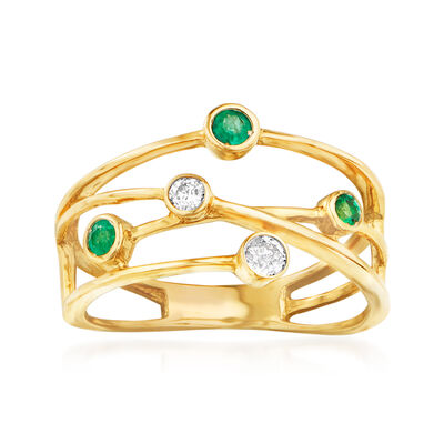 .11 ct. t.w. Diamond and .10 ct. t.w. Emerald Crisscross Ring in 14kt Yellow Gold