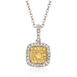 "Gregg Ruth .43 ct. t.w. Yellow and White Diamond Necklace in 18kt White Gold. 18"", , default"
