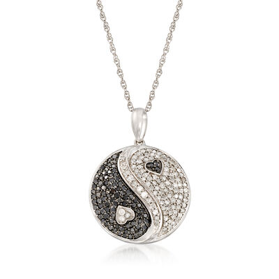 1.01 ct. t.w. Black and White Diamond Yin-Yang Pendant Necklace in Sterling Silver, , default