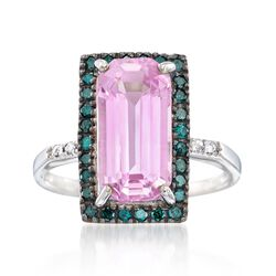 5.25 Carat Kunzite and .42 ct. t.w. Blue Diamond Ring in 14kt White Gold, , default