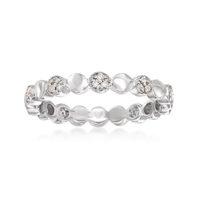 .13 ct. t.w. Pave Diamond Alternating Circle Eternity Band in 14kt White Gold, , default