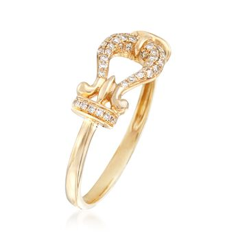 .17 ct. t.w. Diamond Buckle Ring in 14kt Yellow Gold, , default