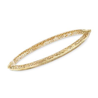 Italian 14kt Yellow Gold Floral Filigree Bangle Bracelet, , default
