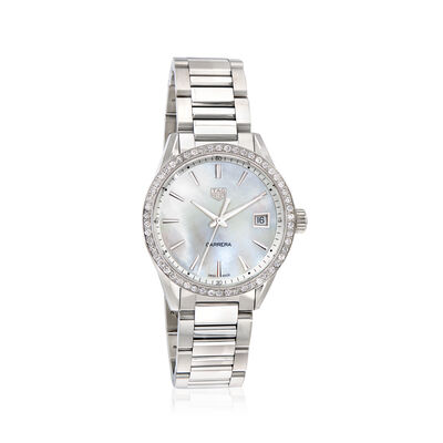 TAG Heuer Carrera Women's 36mm .76 ct. t.w. Diamond Watch in Stainless Steel with Mother-Of-Pearl Dial, , default
