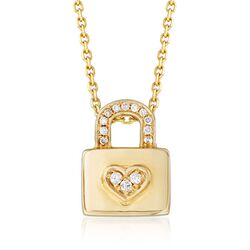 """14kt Yellow Gold Heart and Lock Pendant Necklace With Diamond Accents. 18"""", , default"""