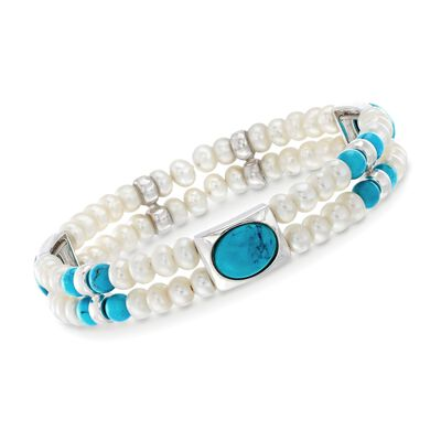 4.5-5mm Cultured Pearl and Simulated Turquoise Cuff Bracelet in Sterling Silver, , default