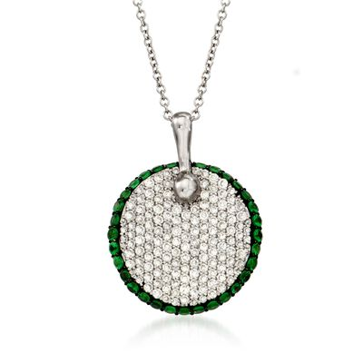Simon G. .65 ct. t.w. Diamond and .48 ct. t.w. Tsavorite Pendant Necklace in 18kt White Gold
