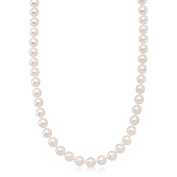 7-7.5mm Premier Cultured Akoya Pearl Necklace With Diamond Accent and 18kt White Gold, , default