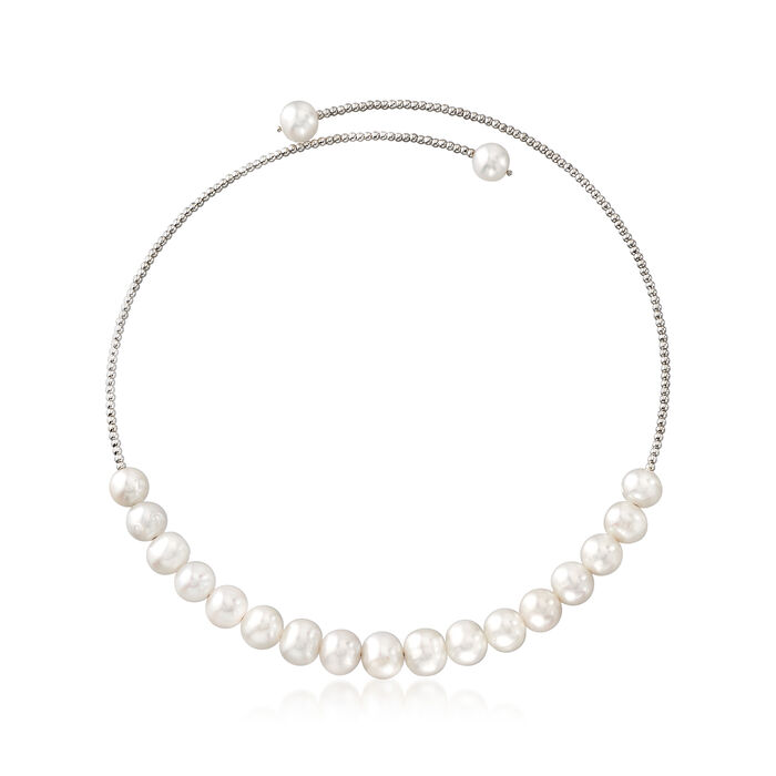 9-10mm Cultured Pearl Wrap Choker Necklace in Sterling Silver