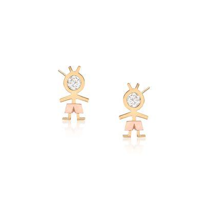 .20 ct. t.w. CZ Boy Stud Earrings in 18kt Two-Tone Gold, , default
