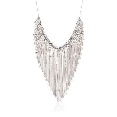 Italian Sterling Silver Snake Chain Fringe Necklace, , default
