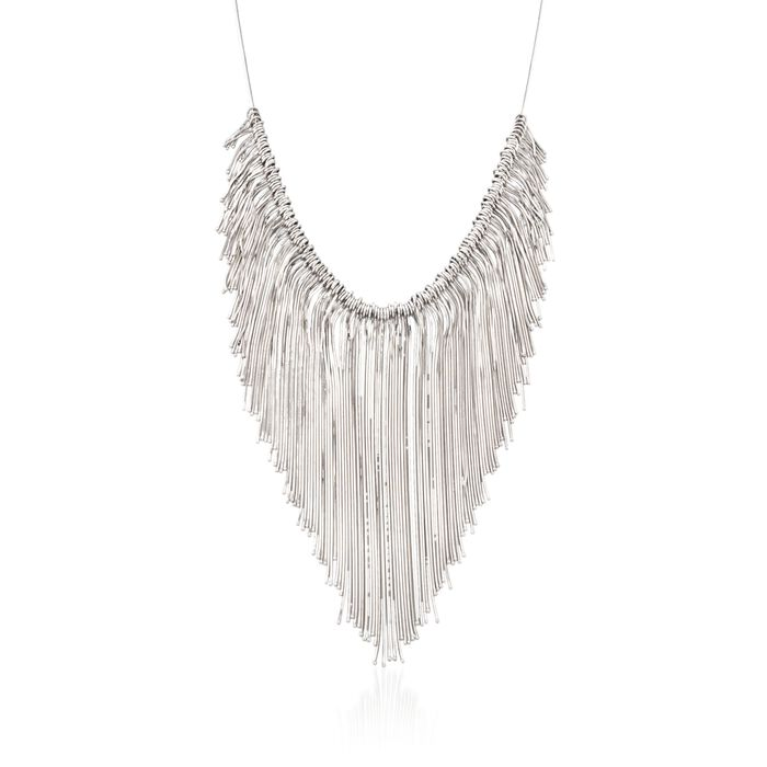 "Italian Sterling Silver Snake Chain Fringe Necklace. 18"", , default"