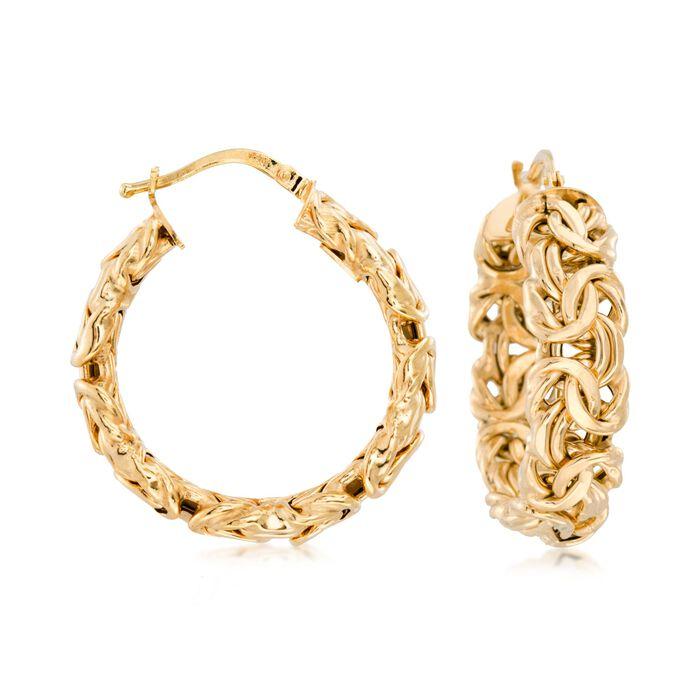 """Italian 14kt Yellow Gold Byzantine Hoop Earrings. 1 1/8"""", , default"""