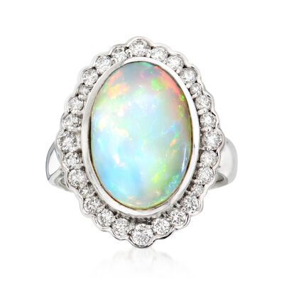 Opal and .70 ct. t.w. Diamond Ring in 14kt White Gold