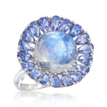 Moonstone and 2.80 ct. t.w. Tanzanite Floral Ring in Sterling Silver