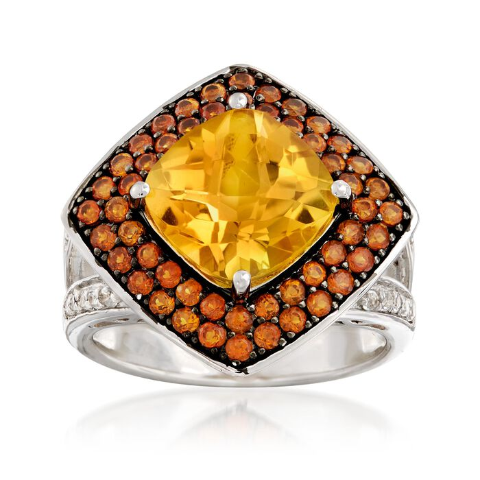 3.80 Carat Yellow Citrine and .80 ct. t.w. Orange Citrine Ring with .20 ct. t.w. White Topaz in Sterling Silver, , default