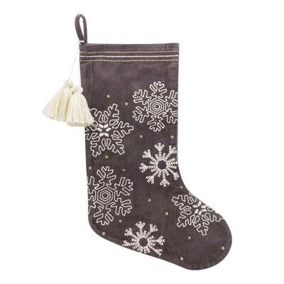 Cream Snowflake and Gray Velvet Holiday Stocking