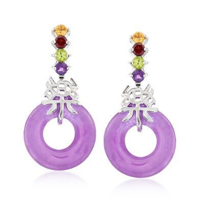 "Purple Jade and .40 ct. t.w. Multi-Stone ""Happy"" Drop Earrings with Sterling Silver"