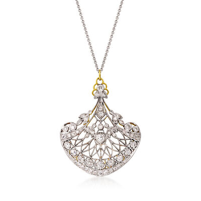 C. 1980 Vintage 1.50 ct. t.w. Diamond Pendant Necklace in Sterling Silver and 14kt White Gold