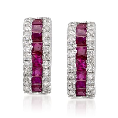 1.10 ct. t.w. Ruby and .30 ct. t.w. Diamond Hoop Earrings in 14kt White Gold    , , default