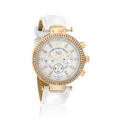 Saint James Swarovski Crystal 39mm Watch in Goldtone