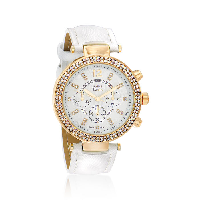 Saint James Swarovski Crystal 39mm Watch in Goldtone