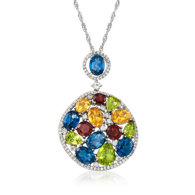 18.85 ct. t.w. Multi-Gemstone Pendant Necklace in Sterling Silver, , default