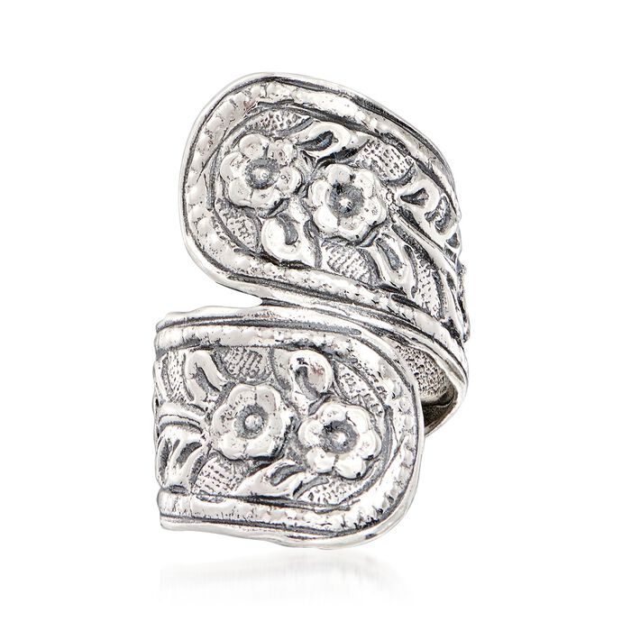 Sterling Silver Textured Floral Spoon Ring, , default