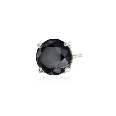 1.00 Carat Black Diamond Single Stud Earring in 14kt White Gold