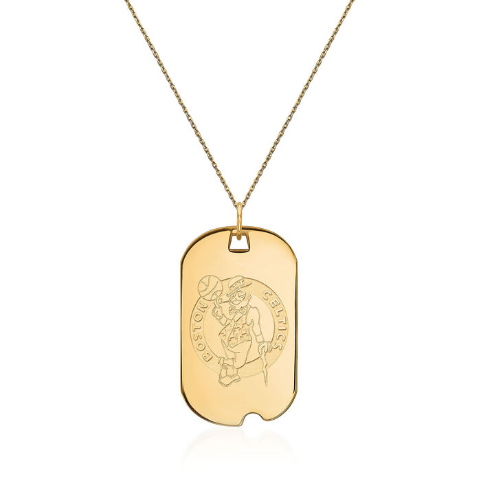 14kt Yellow Gold NBA Boston Celtics Dog Tag Necklace. 18""