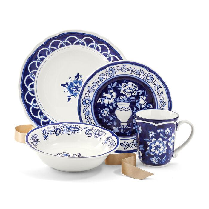 """""""Blue Garden"""" Hand-Painted Stoneware Dinnerware, , default"""