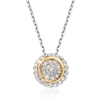 """Phillip Gavriel """"Popcorn"""" Diamond-Accented Pendant Necklace in Sterling Silver and 18kt Gold. 18"""", , default"""