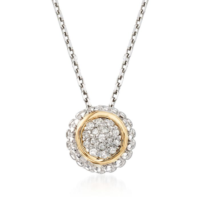 "Phillip Gavriel ""Popcorn"" Diamond-Accented Pendant Necklace in Sterling Silver and 18kt Gold. 18"", , default"