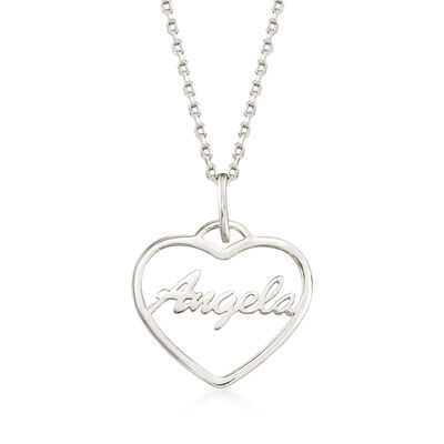 Sterling Silver Script Name Open-Space Heart Pendant Necklace, , default