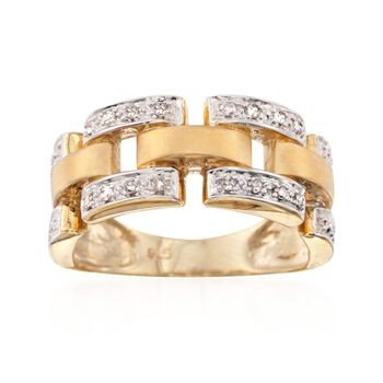 .12 ct. t.w. Diamond Panther-Link Ring in 18kt Yellow Gold Over Sterling, , default