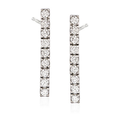 C. 1990 Vintage 1.80 ct. t.w. Diamond Linear Drop Earrings in 18kt White Gold, , default