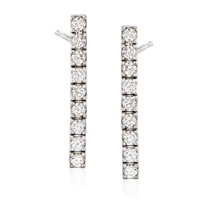 C. 1990 Vintage 1.80 ct. t.w. Diamond Linear Drop Earrings in 18kt White Gold