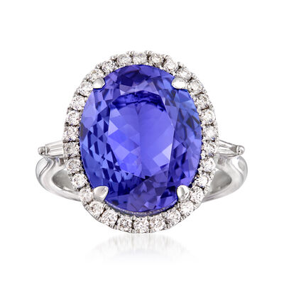 7.75 Carat Tanzanite and .43 ct. t.w. Diamond Halo Ring in 14kt White Gold