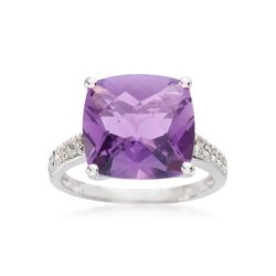 6.15 Carat Amethyst Ring With Diamond Accents in 14kt White Gold, , default