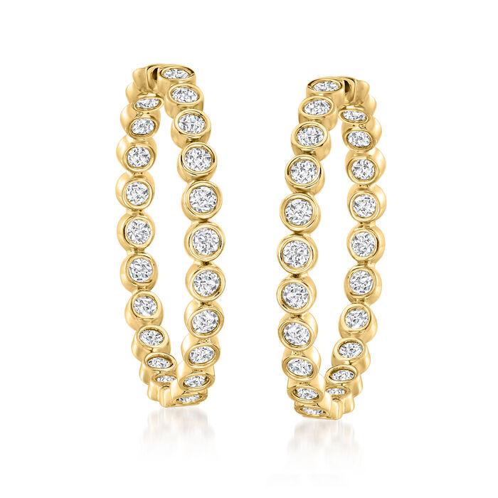 3.00 ct. t.w. Bezel-Set Diamond Inside-Outside Hoop Earrings in 18kt Gold Over Sterling